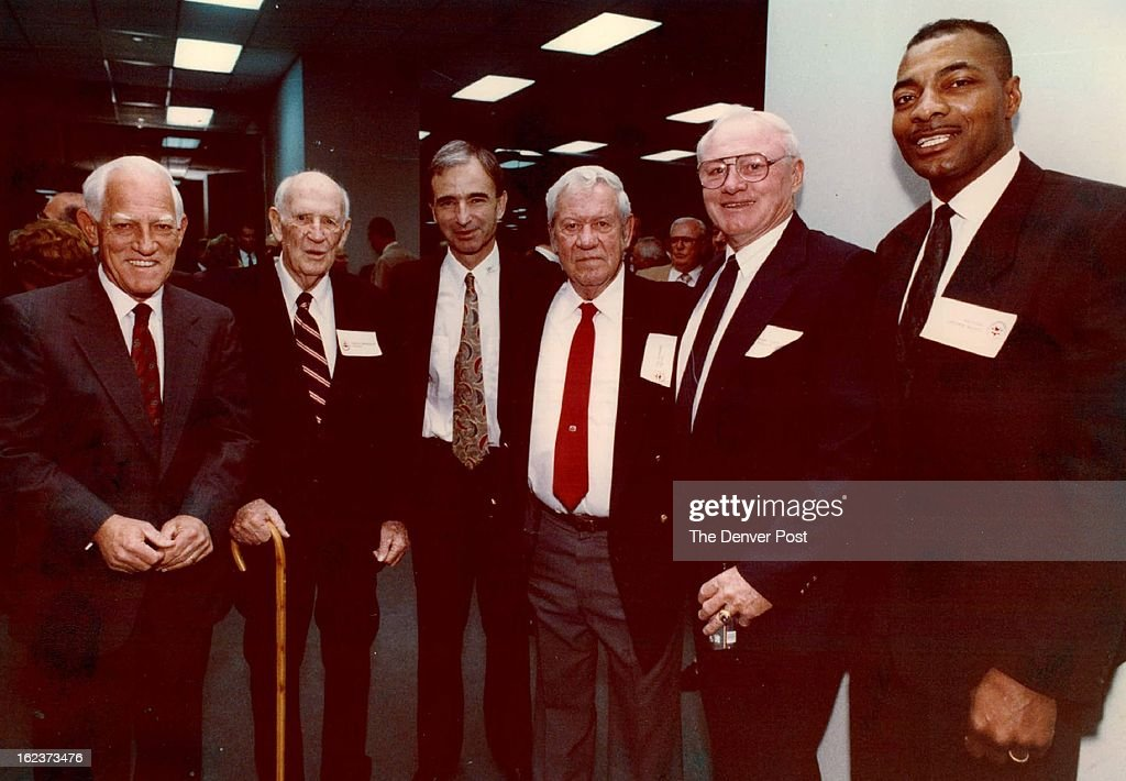 2-18-1992; Colorado Sports Hall of Fame; The Denver Post; From Left: Chuck Bresnahan, Carl Scheer, Joe Guennel, Gary Glick, Louis Wright;