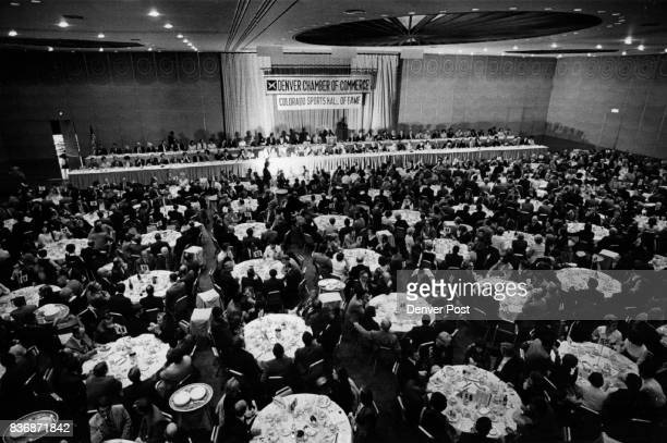 Colorado sports hull of fame Overall from projection room The Grand Ballroom of the Denver Hilton hotel is packed at the hall of fame banquet Credit...