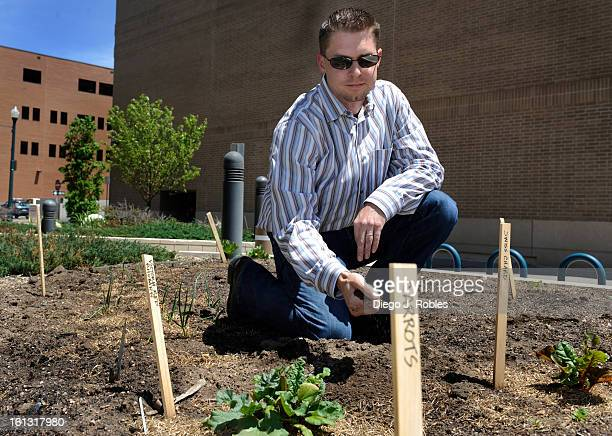 Colorado Springs public works team leader Nick Kittle poses for a portrait in the Colorado Springs new city hall garden on Thursday afternoon May 27...