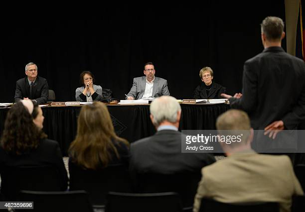 Colorado State Board of Private Occupational Schools board members from left to right Joseph James Wolfe Arlene Rae Malay Steven Steele and Shelley...