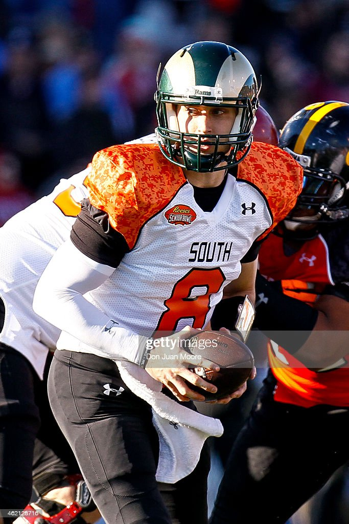 Colorado State Quarterback Garrett Grayson #8 of the South Team during the 2015 Resse's Senior Bowl at Ladd-Peebles Stadium on January 24, 2015 in Mobile, Alabama. The North defeated the South 34-13.