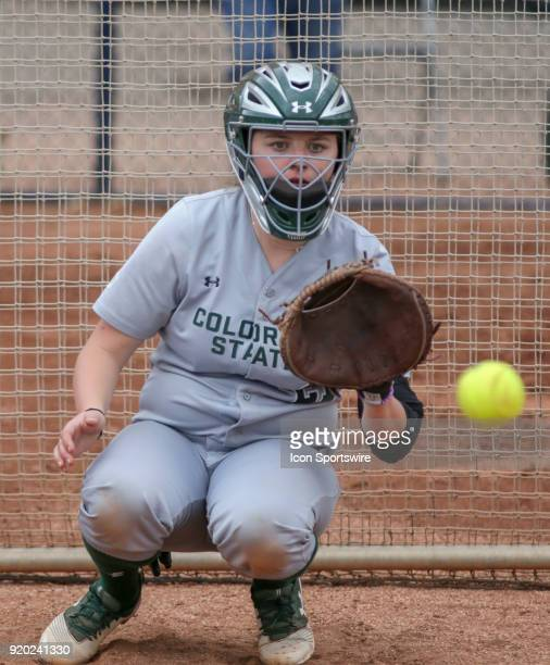 Colorado State Rams catcher Lauren Buchanan catches the ball during the a college softball game between Colorado State Rams and the Arizona Wildcats...