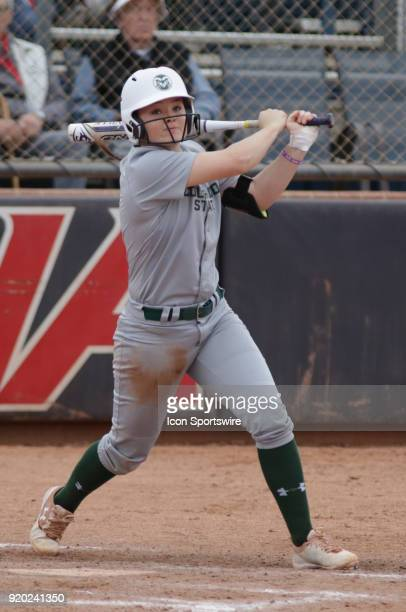 Colorado State Rams infielder Haley Donaldson hits the ball during the a college softball game between Colorado State Rams and the Arizona Wildcats...