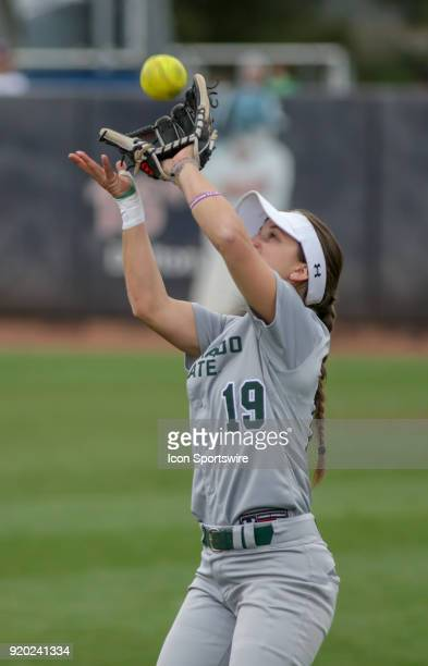 Colorado State Rams infielder Sarah Muzik catches a popup during the a college softball game between Colorado State Rams and the Arizona Wildcats...