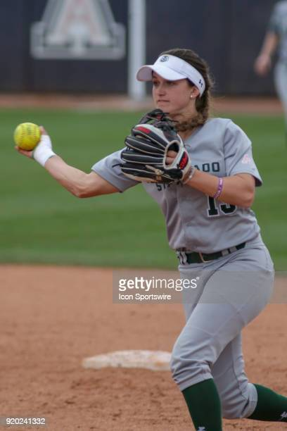 Colorado State Rams infielder Sarah Muzik throws the ball to first base during the a college softball game between Colorado State Rams and the...