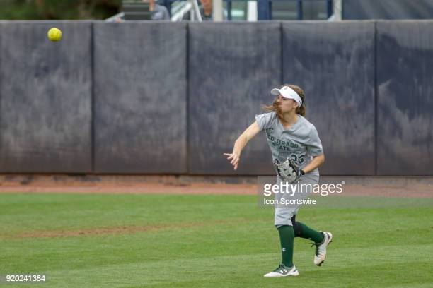 Colorado State Rams outfielder Jordan Acosta throws the ball from left field during the a college softball game between Colorado State Rams and the...