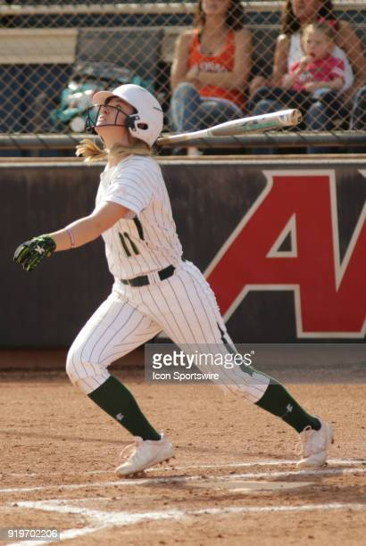 Colorado State Rams outfielder Tara Shadowen hits a triple during the a college softball game between the Colorado State Rams and the Troy Trojans...