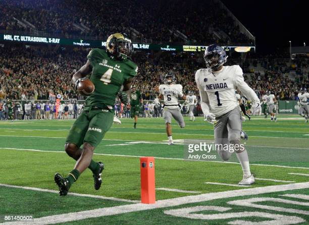 Colorado State Rams wide receiver Michael Gallup easily crosses the goal line for a touchdown after a pass reception against Nevada Wolf Pack...