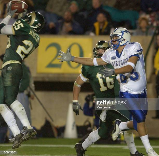 Colorado State safety Benny Mastropaolo 25 makes an interception on a pass thrown by Air Force quarterback Chance Harridge to JP Waller late in the...