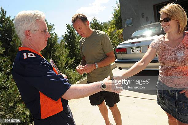Colorado State Senator John Morse left who hit the streets by himself to canvas the West Side neighborhood talks to Colorado Springs residents...