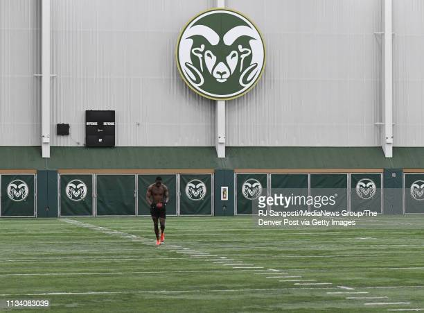 Colorado State University wide receiver Preston Williams preforms drills during pro day for NFL scouts on campus on March 6 2019 in Fort Collins...