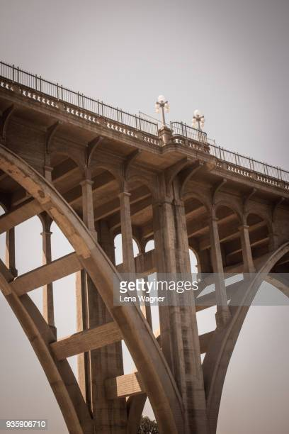 colorado street bridge with street lamps - pasadena stock pictures, royalty-free photos & images