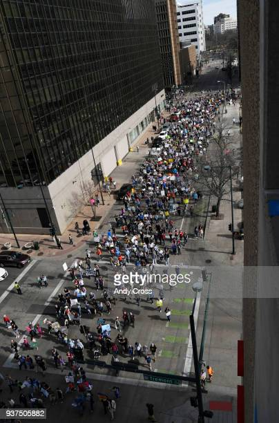 Colorado students and supporters head down 15th St for the March for Our Lives protest March 24 2018 The studentled rally and march is one of more...