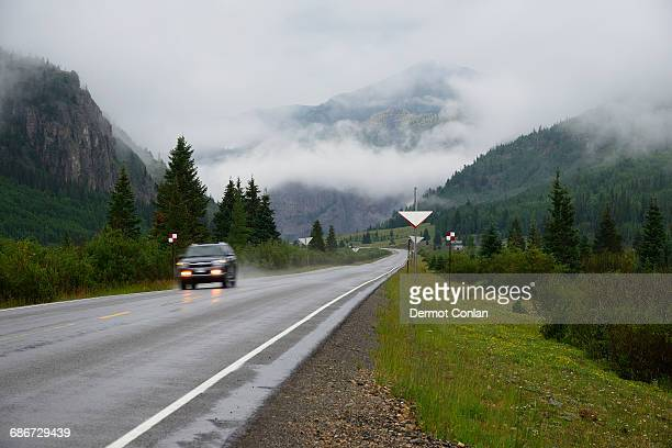 usa, colorado, suv on million dollar highway in san juan mountains - million dollar highway stock photos and pictures