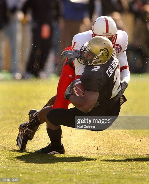 Colorado tailback Brian Calhoun got plated by Nebraska's Josh Baker after a reception in the fourth quarter Nebraska beat Colorado 3122 Friday in...