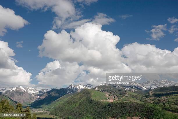 usa, colorado, telluride, san juan mountains under clouds - san juan mountains stock photos and pictures