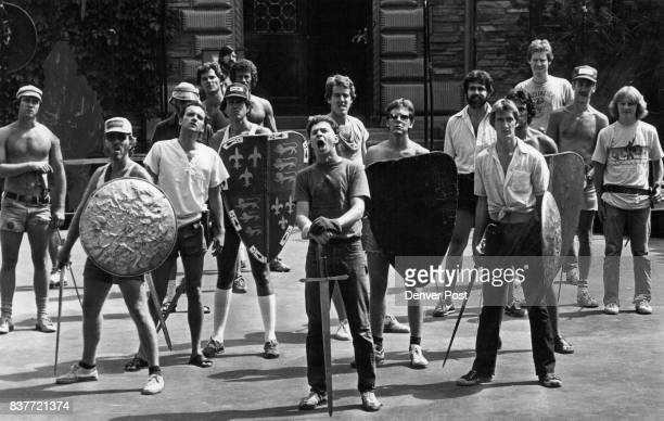 Colorado University Shakespeare Festival Rehearsal gumin middle w/mouth open is Jim Fennegan who plays king Herry V Credit Denver Post Inc