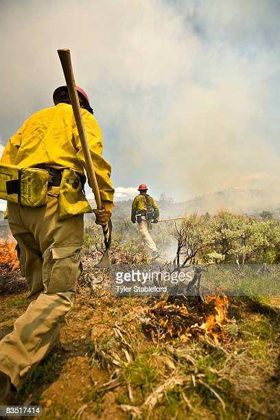 Colorado wildfire fighters with pickaxes.