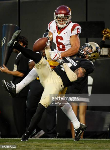 Colorado's Dante Wigley breaks up a pass intended for USC wide receiver Michael Pittman Jr during the Colorado Buffalos game versus the USC Trojans...
