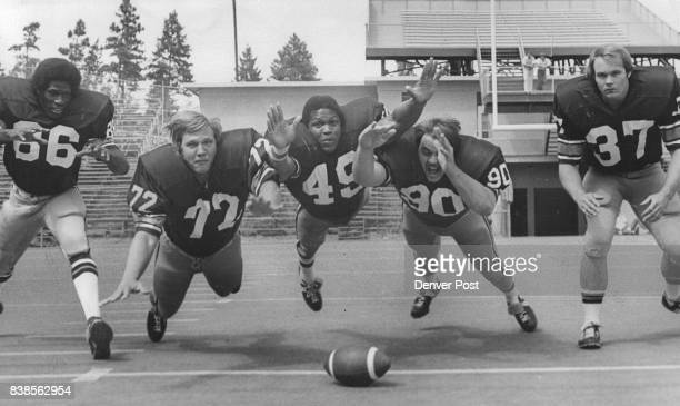 Colorado's defensive front Whitney Paul Tom Likovich Steve Griffin Jeff Turcotte and Rick Steams hold key to Buff defense Credit Denver Post