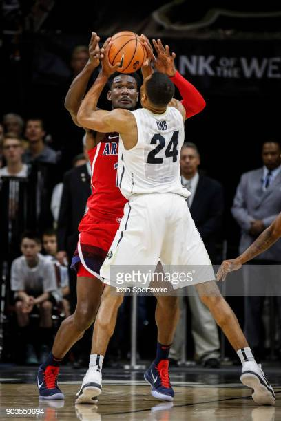 Colorado's George King and Arizona's DeAndre Ayton battle for a ball during their regular season PAC12 basketball game on January 06 2018 at the...
