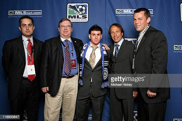 Colorado's Jeff Plush GM Charlie Wright draft pick Nico Colacula head coach Fernando Clavijo and John Murphy at the MLS SuperDraft at the Indiana...