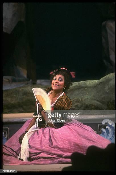 Coloratura soprano Kathleen Battle as Zerbinetta in Ariadne auf Naxos by Richard Strauss, on stage at the Metropolitan Opera.