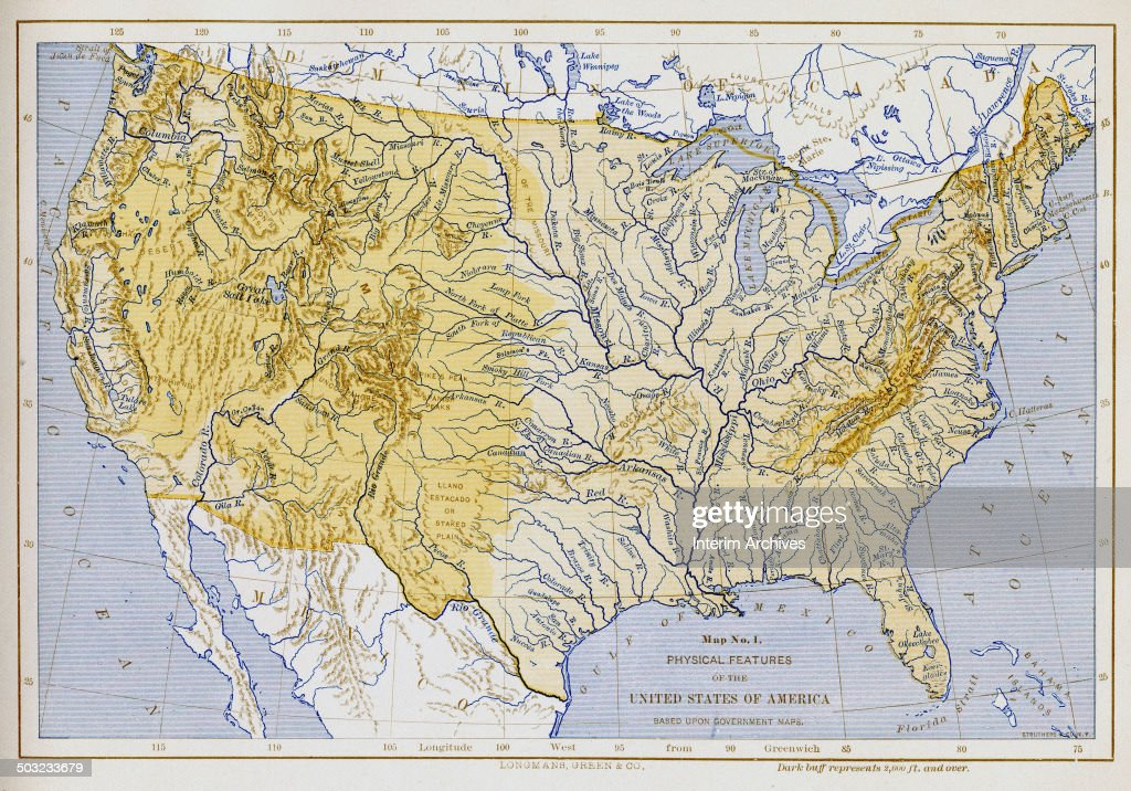 Color-coded map, entitled \'Map No 1, Physical Features of the United ...