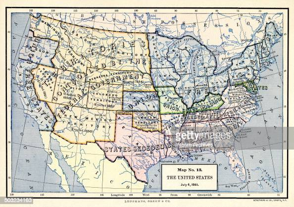 Color-coded map, entitled \'Map No 13, The United States, July 4 ...