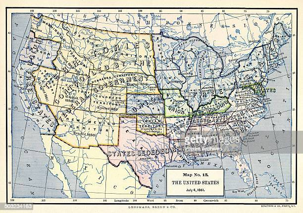 Colorcoded map entitled 'Map No 13 The United States July 4' illustrates the 'Free States of the Union' 'Union SlaveHolding States' 'States That...