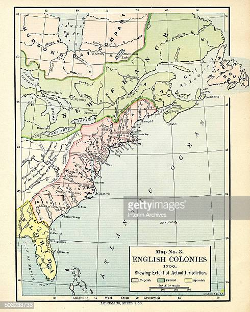 Color-coded map, entitled 'Map No 3, English Colonies Showing Extent of Actual Jurisdiction,' illustrates the French , English , and Spanish , the...
