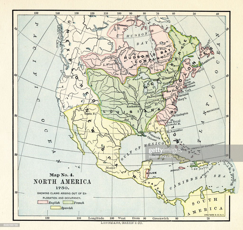 North America Map 1750.Color Coded Map Entitled Map No 4 North America Illustrates