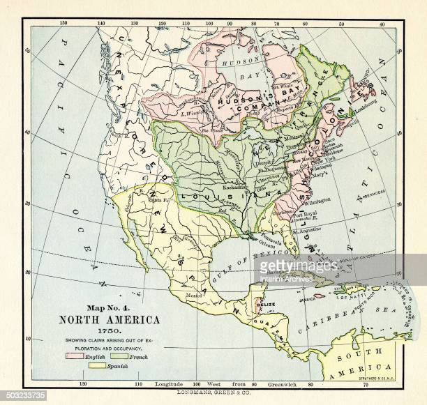 Colorcoded map entitled 'Map No 4 North America' illustrates claims which originated from exploration and occupancy by the English the French and the...