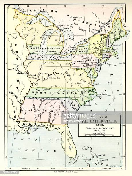 Color-coded map, entitled 'Map No 6, the United States ' illustrates the original thirteen states and the extent of their territorial claims westward...