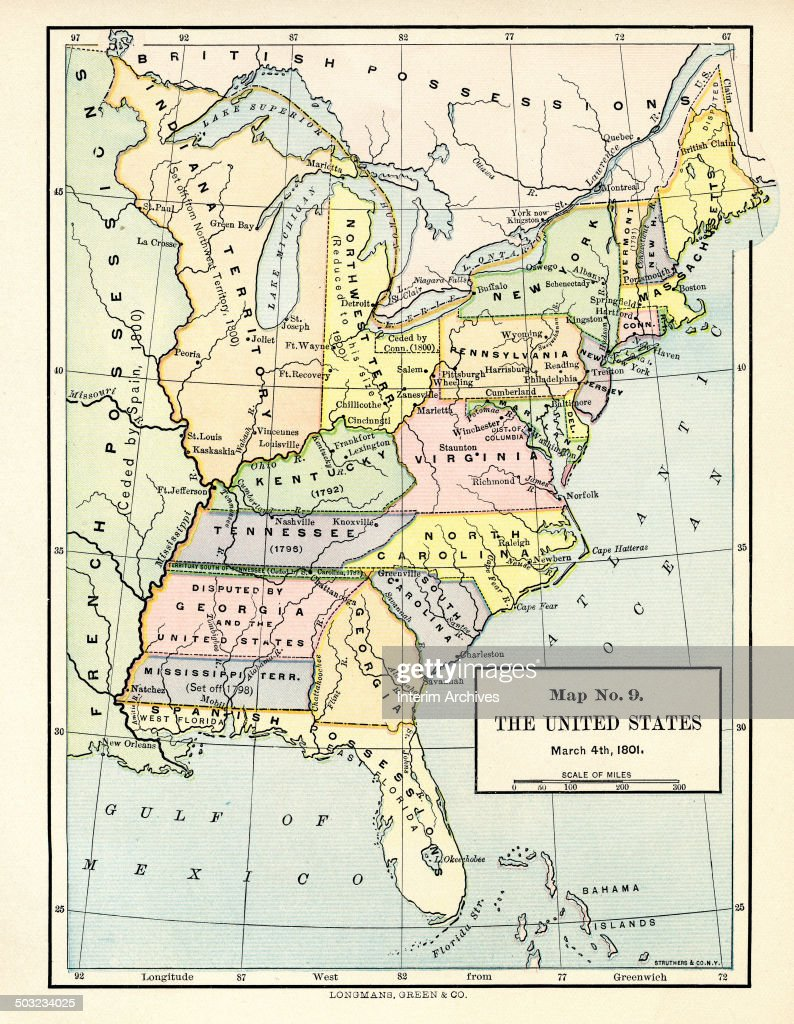 Color-coded map, entitled \'Map No 9, the United States, March 4 ...