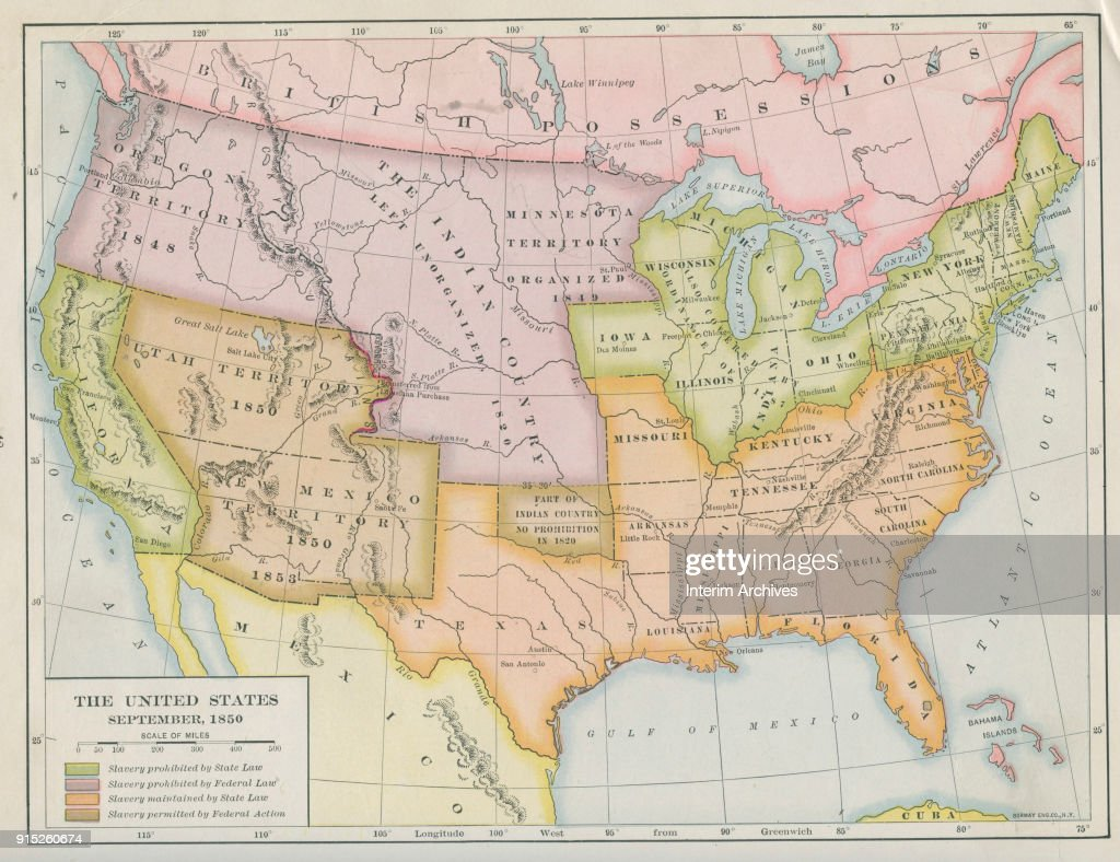 Map Of Slavery Prohibition In The United States Pictures   Getty Images