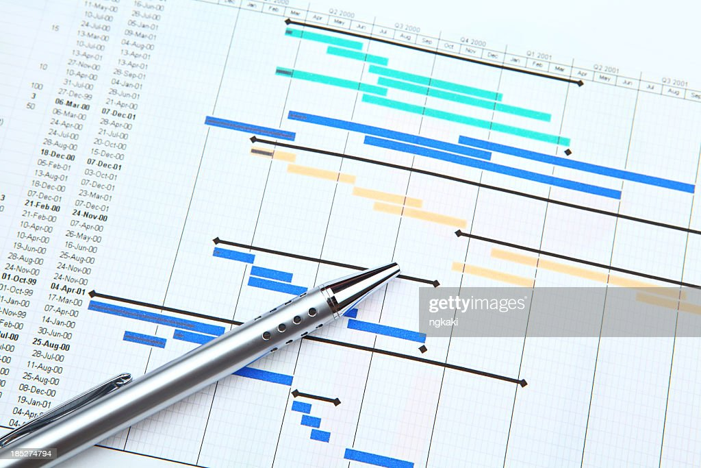 Color-coded project plan and a silver pen : Stock Photo