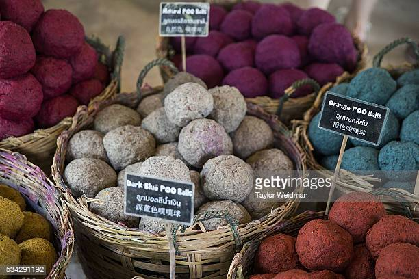 Colored balls of elephant dung fiber will be made into sheets of paper at Elephant 'PooPooPaper' Park on May 24 2016 in Mae Rim Thailand Elephant...