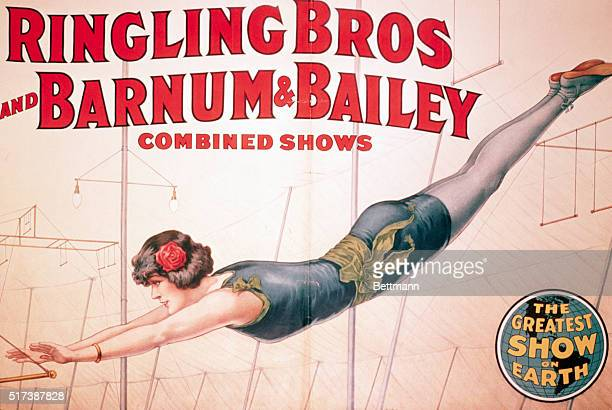 Colored circus poster for Ringling Brothers - Barnum and Bailey. Photo shows blue garbed aerialist, undated.