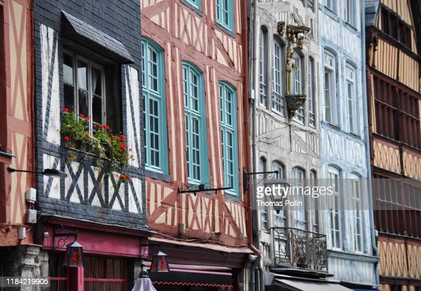 colored half-timbered houses in rouen - rouen stock pictures, royalty-free photos & images