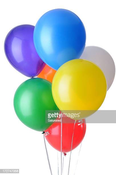 Colored Helium Balloons Isolated on White Background