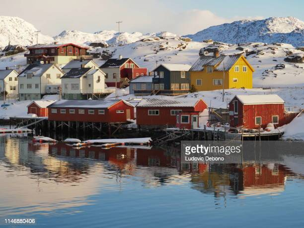 colored houses in gjesvaer - island stock pictures, royalty-free photos & images