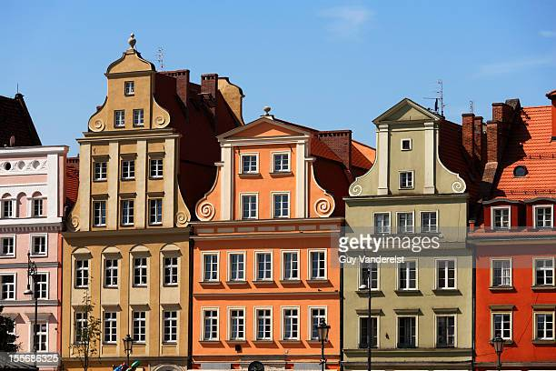 Colored houses on Plac Solny in Wroclaw, Poland.