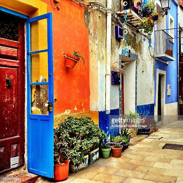 colored houses - alicante stock pictures, royalty-free photos & images