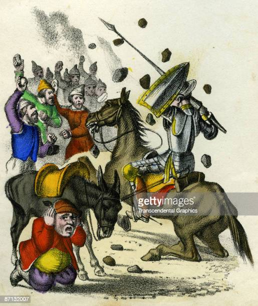 Colored lithograph illustrates a scene from an unidentified edition of Miguel de Cervantes Saavedra's novel 'Don Quixote' mid to late nineteenth...