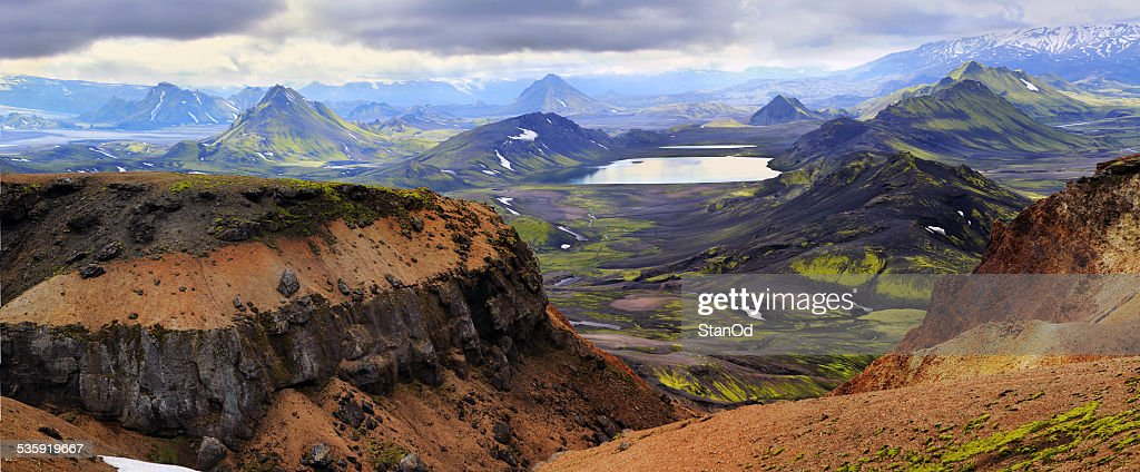 colored mountains in Iceland : Stock Photo