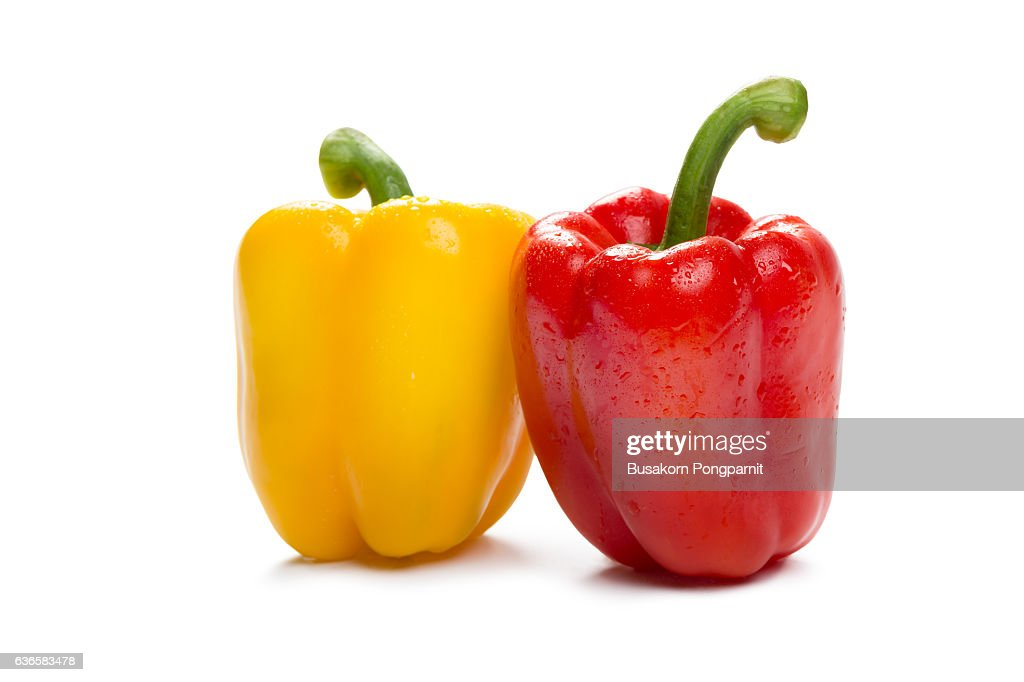 Colored paprika peppers, Isolated on white background : Stock Photo
