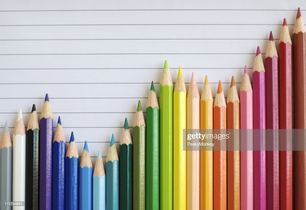 Colored Pencil Bar Graph Lined Paper Gives Successful Result : Stock Photo