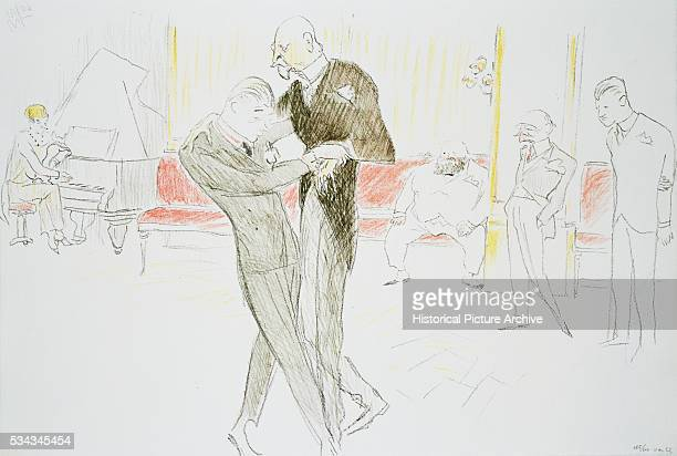 Colored Pencil Drawing of Men Dancing from Paris Night Life by Maurice Vertes