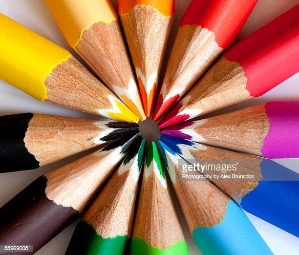 Colored pencil set in a circle